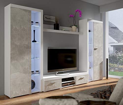 Küchen-Preisbombe TOP Wohnwand Rumba XL Anbauwand Wohnkombi Wohnzimmer Beton Optik + Weiss matt