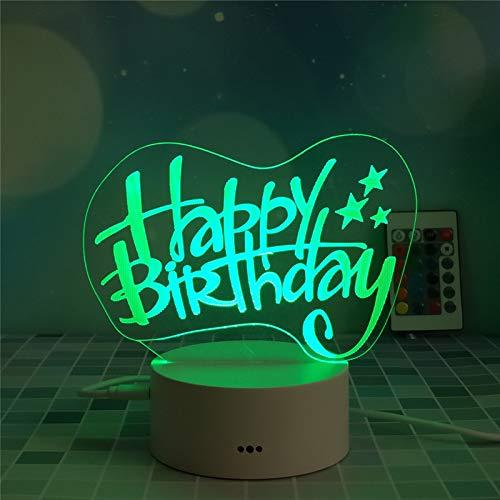 marca blanca USB batería táctil control remoto colorido noche luz 3d creativo regalo lámpara de mesa