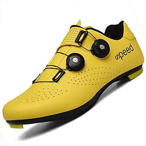 KUXUAN Zapatillas De Ciclismo Unisex,Profesionales Zapatillas De Deporte Transpirables para Bicicletas De Montaña Zapatillas De Carreras De Bicicletas,Yellow-38