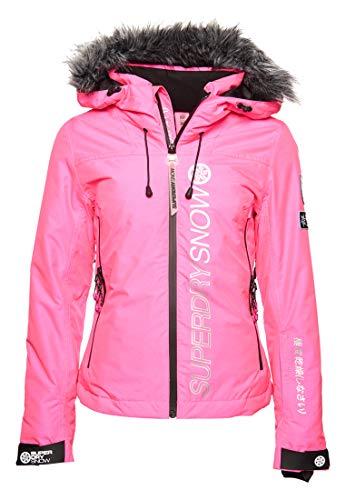 Superdry Damen SD Ski Run Jacke Leuchtend Pink Gesprenkelt 36