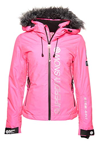 Superdry Damen SD Ski Run Jacke Leuchtend Pink Gesprenkelt 36