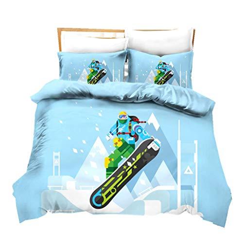 Winter Sport Bettwäsche Set Blau Weiß Schneeberg Bettbezug mit Kissenbezug Skibett Set Kinder Teen Mikrofaser Bedding Süße Mädchen Heimtextilien 2/3 Stück (Style 3, Single 135x200cm)