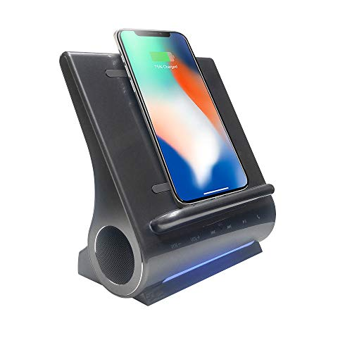 15 WATTS Wireless Charger, Bluetooth Premium Speakers, Docking Station with Built in Mic Handsfree Call, 4 in 1 Station for iPhone and Samsung Phone