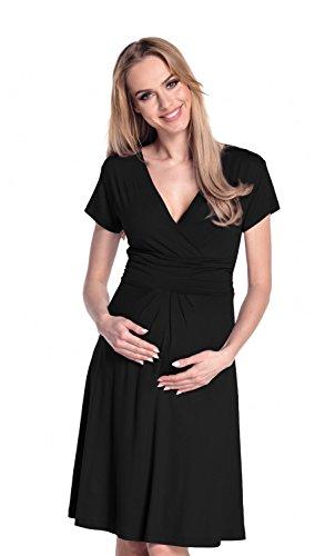 Happy Mama De Las Mujeres Maternidad Jersey Llamarada Bebé Ducha Vestido Corto Mangas 108 (Negro, EU 44, 2XL)