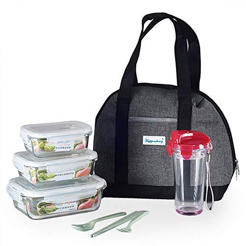 Lonchera, Bento Box para niños y adultos, con cubiertos, bolsa de almacenamiento y taza, frasco de sopa a prueba de fugas, recipiente de preparación de comidas