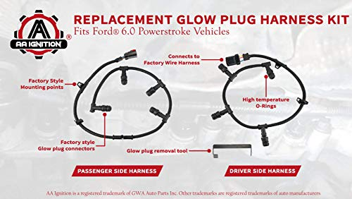 Replacement Powerstroke 6.0 Glow Plug Harness Kit - Includes Right, Left Harness, and Removal Tool - Compatible with Ford F250 Super Duty, F350, and more - 2004, 2005, 2006, 2007, 2008, 2009, 2010