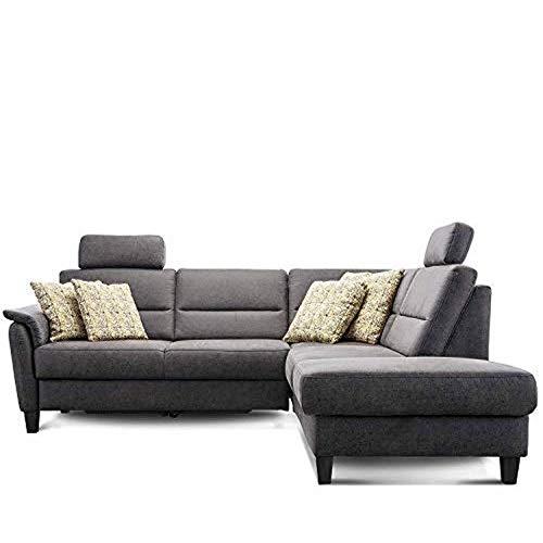 Cavadore Schlafsofa Palera mit Federkern / L-Form Sofa mit Bettfunktion / 236 x 89 x 212 / Büffellederoptik Dunkelgrau