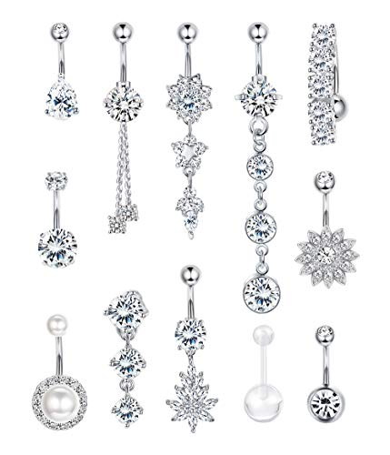 FIBO STEEL 12 Pcs 14G Belly Button Rings Dangle 316L Stainless Steel Belly Rings For Women Navel Piercing Jewelry