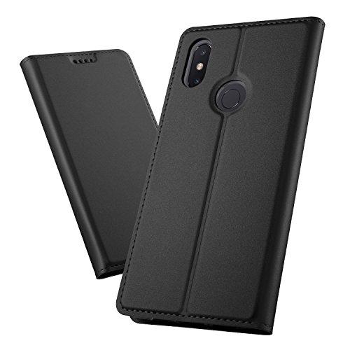 XINKO Xiaomi Mi Max 3 Wallet Tasche Hülle - [Ultra Slim][Card Slot][Eingebauter Magnet] Flip Wallet Hülle Etui für Xiaomi Mi Max 3 - Glatt Series schwarz
