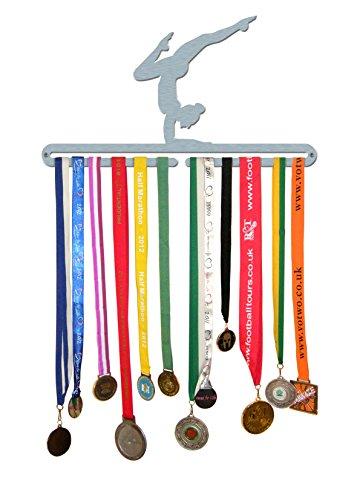 The Medal Hanger Shop 'Hembra Gimnasta' Medalla Percha Pantalla Soporte de Acero Inoxidable–Fabricado en Gran Bretaña