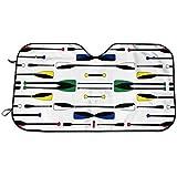 オリンピックボートオールズホワイト 車用フロントカバー カーフロントカバー サンシェード フロントシェード ガラス 車用遮光断熱 UV 紫外線対策折り畳み 日焼け防止汎用車用品
