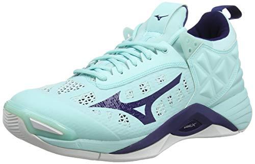 Mizuno Wave Momentum, Zapatillas de Voleibol Mujer, Luz Azul Azul Astral Aura Blanco 28, 38 EU