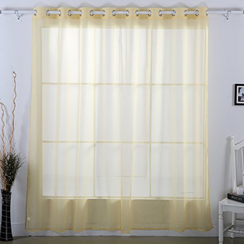 Deconovo Decorative Voile Wide Width Delicate Sheer Grommet Curtain for Living Room, 80W x 84 L Inch, Yellow Cream