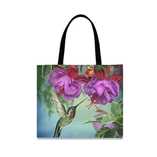 DOSHINE Tragetasche aus Segeltuch, Kolibri-Blume, wiederverwendbar, Einkaufstasche, Schulranzen, Handtasche für Damen, Mädchen