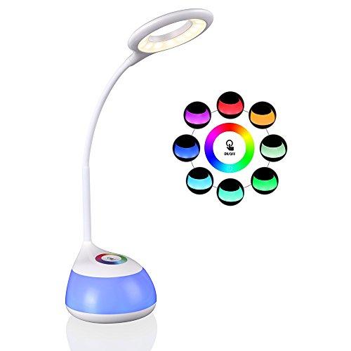 hihigou Lampada LED da tavolo con Porta USB, RGB Luci d'atmosfera,Collo Flessibile, 3 Livelli Dimmerabili, Luce LED da lettura, Regali di Natale, bianco