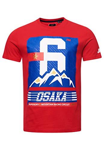Superdry Hombre Camiseta Osaka 360 Rojo Carmín XXXL