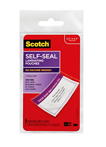Scotch Self-Sealing Laminating Pouches, Bag Tags with Loops, 2.5 Inches x 4.5 Inches, 6 Packs of 5 Pouches, 30 Pouches total (LS853-5G)