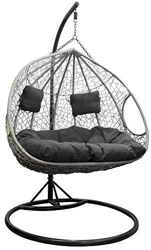 Trendyshop365 XXL Polyrattan Hängesessel mit Gestell Hängestuhl für Garten & Lounge anthrazit