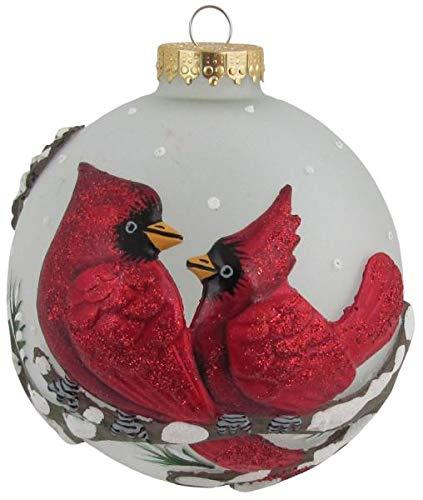 Boule 3D avec oiseau, boule de noel en verre, soufflé à la bouche