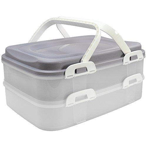 com-four® Partycontainer Transport-Box, Kuchenbehälter und Lebensmittelbox mit 2 Etagen und Hebeeinsatz, in grau pastell (001 Stück - grau pastell)