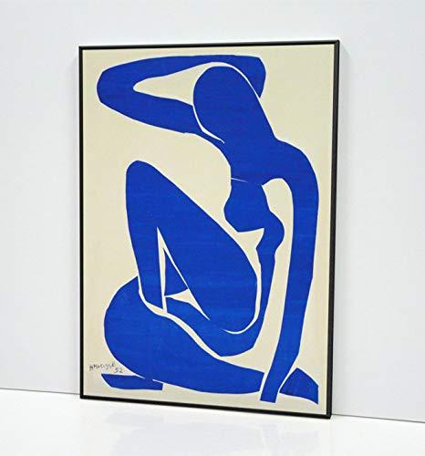 Henri Matisse Blue Nude I 1952 Cuadro Enmarcado- Enmarcado en Moldura de Aluminio Mate Color a Elegir- Montaje en Panel Adhesivo (Foam)- Laminado en Mate (Sin Cristal)(50x70cm,Negro)