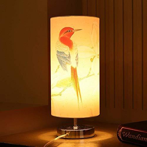 ZBY Lámpara Luz Lámpara de Escritorio Lámpara de Noche Cálida Luces Decorativas, Tela Pantalla de Luz Dormitorio Sala de Estudio Sala de Estar Lámpara de Mesa Luz de Noche E27,E-15 X 36Cm