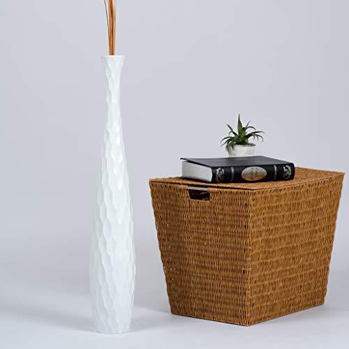 Leewadee Jarrón De Suelo Grande para Ramas Secas Decorativas Florero Alto De Piso Decoración Casa 75 cm, Madera de Mango, Blanco
