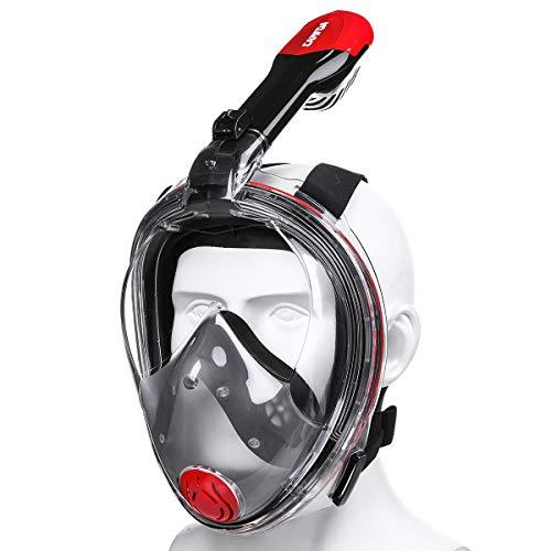 CAMTOA Tauchmaske, Easybreath Faltbare Schnorchelmaske, Anti-Fog Anti-Leak 180° Sichtfeld Dichtung, aus Silikon Vollmaske, Müheloses Vollgesichtsmaske für Gopro Kamera Erwachsene Rot+Schwarz M