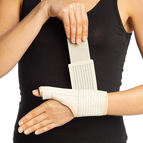 Muñequera en color beis para inmovilizar la muñeca, agarre en zona de muñeca y dedo pulgar para tratamiento de lesiones