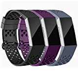 Adepoy Compatible with Fitbit Charge 3/Charge 4 strap, Waterproof Wristbands with Breathable Holes Replacement Band for Fitbit Charge 3 and Charge 3 SE Fitness Activity Tracker Small Large