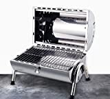 37.5 x 42.5 cm portátil durable astilla de acero inoxidable ligero barbacoa parrilla carbón hoyos camping picnic jardín terraza herramienta regalo