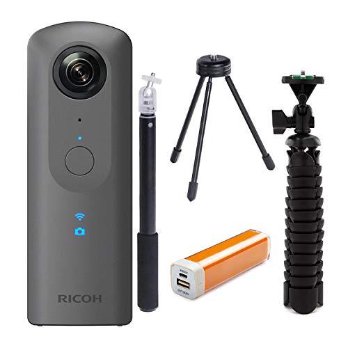 Ricoh Theta V 360-Degree Spherical 4K HD Digital Camera Selfie Stick, Tripod & Charger Advanced Kit