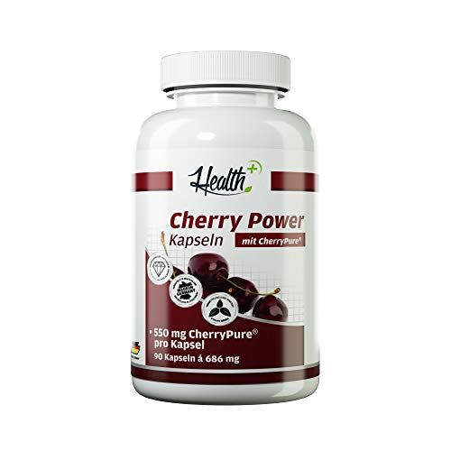 Cherry Pure Health+ Cherry Power - 90 Kapseln, 550 mg CherryPure aus der Montmorency Kirsche, hochdosiert und reich an Vitaminen, Mineralstoffen & Antioxidantien - Made in Germany