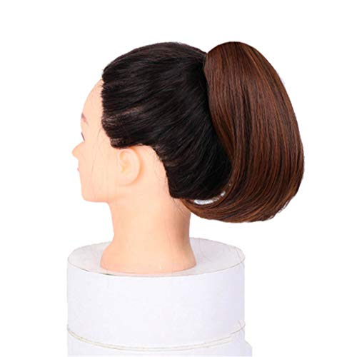 La pleine tête bouclée Clips vague dans sur cheveux synthétiques Mesdames Maroon Ponytail Extension onduleux clip Extensions cheveux postiche Mode court résistant à la chaleur naturelle,Marron