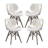 MIFI 4er Set Esszimmerstühle Eiffel Style Dining Holzstühle, Holzstühle Holzbeine und Bequeme Gepolsterte Sitzfläche, Stuhl für Frisierkommode, Stuhl für Schreibtisch, Stuhl für Computer (Weiß)