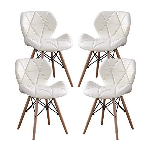 MIFI Chaises en Bois de Style Eiffel Ensemble de 4 chaises cChaises en Bois, Pieds en Bois et Siège Rembourré Confortable, Chaise pour Coiffeuse, Chaise pour Bureau, Chaise pour Ordinateur (Blanc)