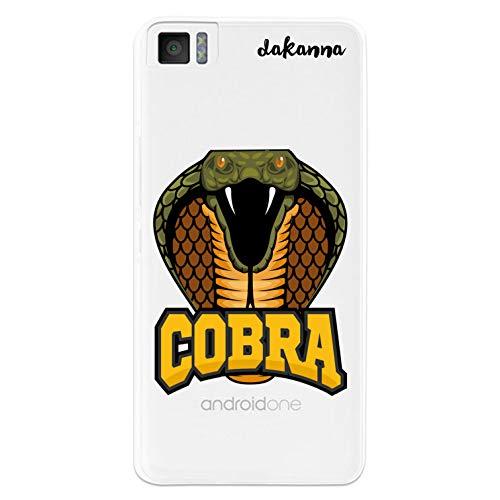 dakanna Kompatibel mit [Bq Aquaris M4.5 - A4.5] Flexible Silikon-Handy-Hülle [Transparenter Hintergr&] Schlange & Phrase Cobra Design, TPU Hülle Cover Schutzhülle für Dein Smartphone