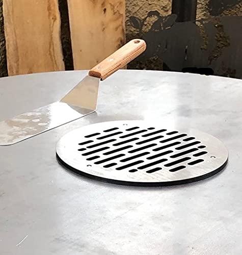 Terma Grillrost für Feuerplatte, Grillplatte, Plancha Stärke 6 mm, Durchmesser 69-100 cm mit Unterbau höhenverstellbar, Feuerschale und Ablagefach (Grillrost)