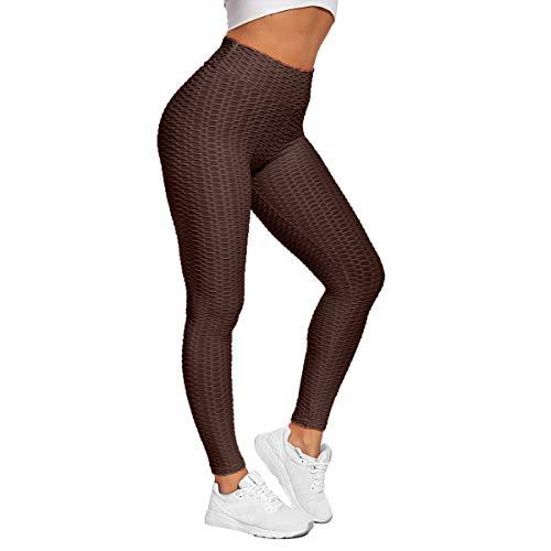 Shukqueen Pantalones de yoga de burbujas de cintura alta para mujer Fitness Yoga Legging Running entrenamiento Medias, marrón, M