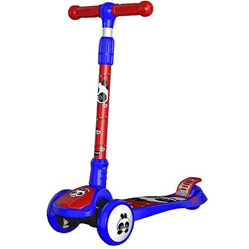 LJHBC Patinete 3 Altura Ajustable Scooter Ligero Plegable Adecuado para niños y niñas de 2 a 8 años, con Ruedas Intermitentes Soporta 100 KG (Color : Blue)