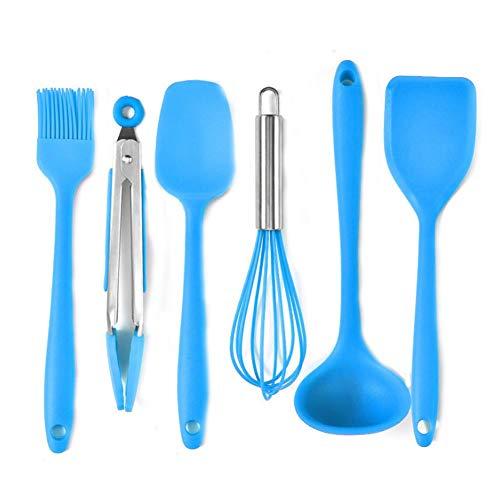 Larew 6 Piece Silicone Kitchen Appliance Set Home Kitchen Cooking Tools Heat Resistant Kitchen Utensil Set (Blue)