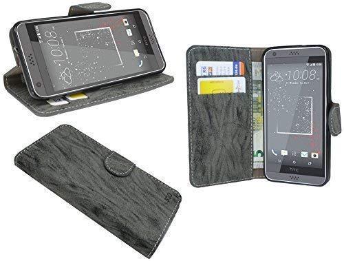 ENERGMiX Elegante Buch-Tasche kompatibel mit HTC Desire 530 in Anthrazit Leder Optik Wallet Book-Style