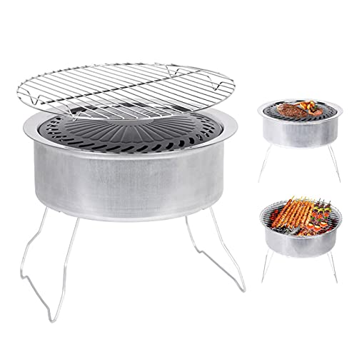 Houssem Parrilla de carbón plegable redonda mini portátil, adecuada para fumadores al aire libre, cocinar fiestas de camping, 11.4211.429.65 cm