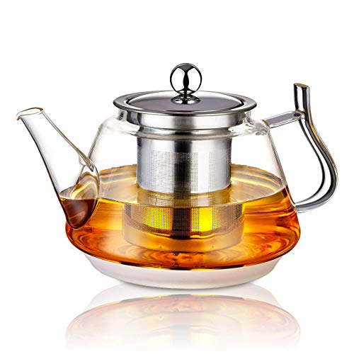 SOTYA 25 OZ Glass Teapot with Removable Stainless Steel Infuser Borosilicate Glass Tea Kettle Blooming Loose Leaf Teapots