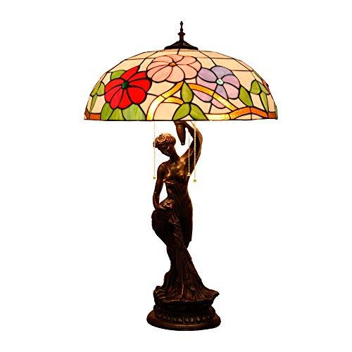 50 cm Lámpara de mesa de estilo de tiffanía grande, lámpara de escritorio de la sombra de cristal de la pequeña flor, decoración de la vendimia cama de noche / mesita de noche luz con el dormitorio de