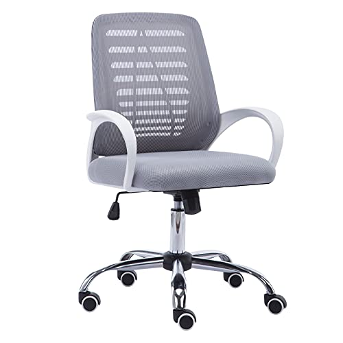JR Knight Ergonomic Mesh Chair, Home Office Desk Chair, Executive Swivel Computer Task Chair with Recline Height Adjustable (Grey)