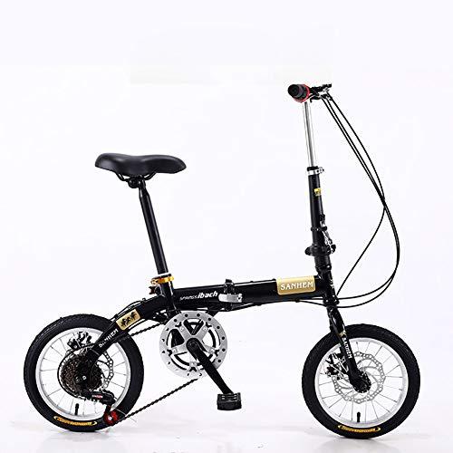 XIAOFEI Bicicletta da 14 Pollici Pieghevole Mini Ultraleggera Portatile per Bambini Adulti Studenti Uomini E Donne Piccola Ruota A Doppia velocità con Freno A Disco,Nero