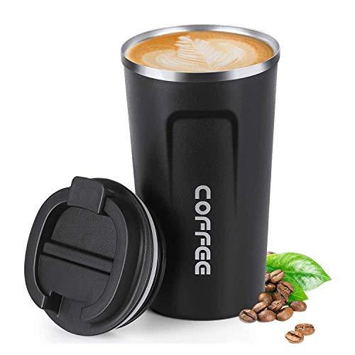CDblue Vaso de Café Aislada Termo de Viaje Reutilizable con Tapa a Prueba de Fugas Acero Inoxidable Doble Pared Mantenga Caliente & Frío (Negro, 510/18oz)