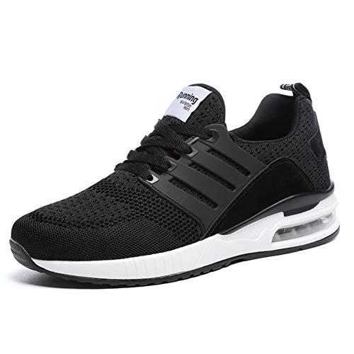 JUXINCHI Herren Damen Sneakers Bequeme Atmungsaktiv Laufschuhe Schnürer Air Profilsohle Sportschuhe Luftpolster Turnschuhe Fitness Leichte,Schwarz,44 EU (Etikette 45)