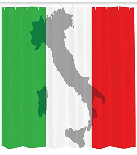 Italienische Flagge Duschvorhang, Kartenansicht von Italien Landkarte Nationales Land Europa Alte Kultur, Stoff Stoff Badezimmer Dekor Set mit Haken, Grau Rot Farn Grün